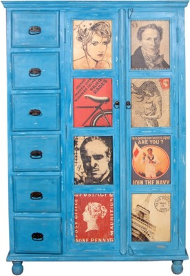 The Attic Solid Wood Cupboard(Finish Color - Distress Blue)