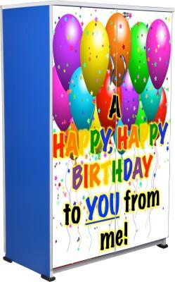 BigSmile Furniture BigSmile Kids Wardrobe - Happy Birthday Engineered Wood Cupboard(Finish Color - Blue)