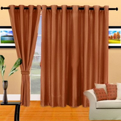 Cortina Polyester Brown Geometric Eyelet Long Door Curtain