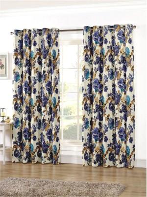 Zephyrtex Polycotton Blue Floral Eyelet Door Curtain