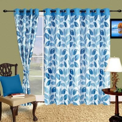Cortina Polyester Blue Motif Eyelet Long Door Curtain