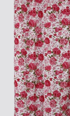 Dekor World Floral Printed Cotton Curtain Fabric(Red, 10 m)