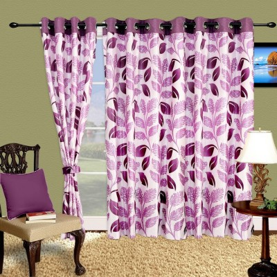 Cortina Polyester Purple Floral Eyelet Window Curtain