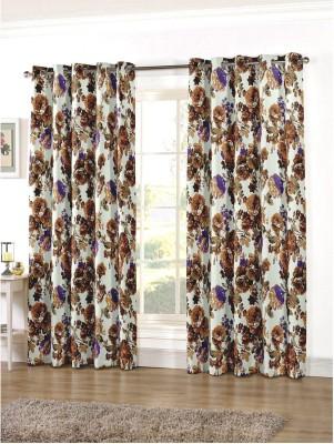 Zephyrtex Polycotton Brown Floral Eyelet Door Curtain