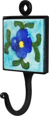 Tarun Industries Square Ceramic Blue Tile Curtain Hook
