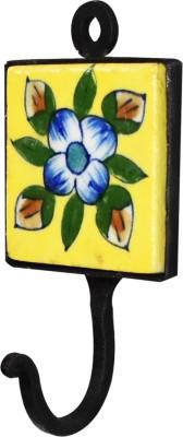 Tarun Industries Square Ceramic Yellow Tile Curtain Hook