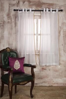 MARIGOLD Polycotton White Self Design Eyelet Window Curtain