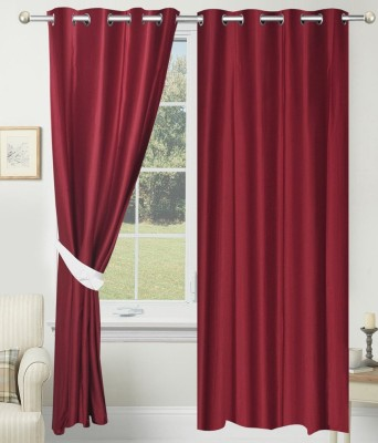 Home Fashion Gallery Polyester Maroon Plain Eyelet Long Door Curtain