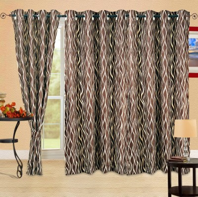 Cortina Polyester Brown Floral Eyelet Door Curtain