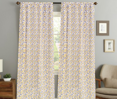 COLORS FOR LIVING Cotton Light Green, Grey Floral Concealed Tab Top Window Curtain