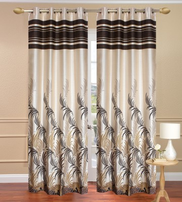 Daddyhomes Polyester Light Brown Solid Eyelet Door Curtain