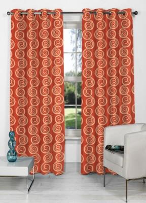 NuHome Decor Polyester Orange Abstract Eyelet Door Curtain