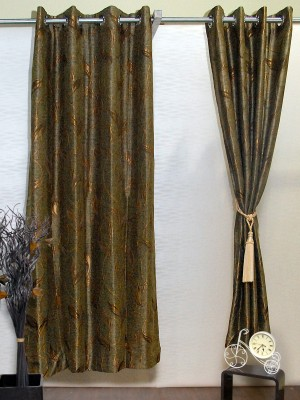 Puma Polyester Brown, Gold Abstract Eyelet Door Curtain