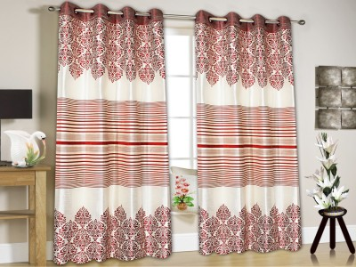 String Jacquard Maroon Floral Eyelet Window & Door Curtain