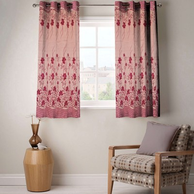 Enaakshi Polyester Fawn Pink, Maroon Floral Eyelet Window Curtain