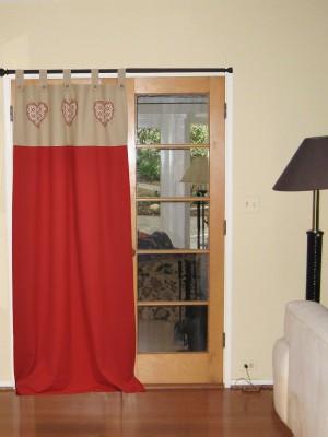 Elan Cotton Red Printed Eyelet Door Curtain
