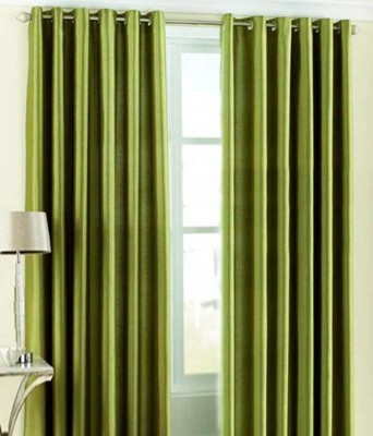 Sanaya Polyester Green Solid Eyelet Door Curtain