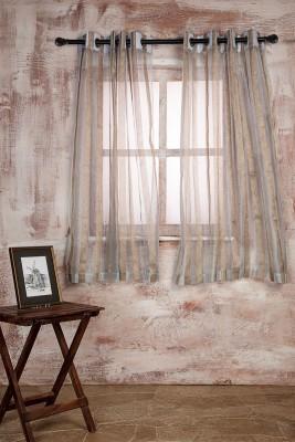 Marigold Polyester LIGHT SKY BLUEBEIGE Striped Curtain Window Curtain