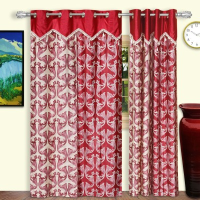 Dreaming Cotton Polyester Red Motif Eyelet Door Curtain