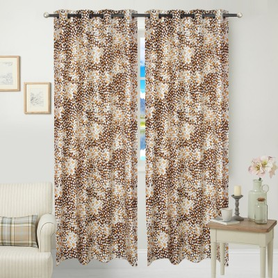 JBG Home Store Polyester Brown Floral Eyelet Door Curtain