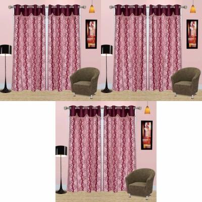Go Decore Net Purple Self Design Ring Rod Door Curtain