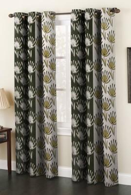 AJ Interior Polyester Green Printed Eyelet Long Door Curtain