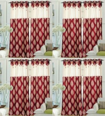 Decor Vatika Polyester Maroon Abstract Ring Rod Door Curtain