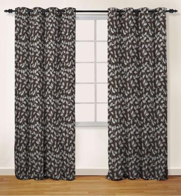 Oro Decor Polyester Dark Chocolate Floral Eyelet Window Curtain