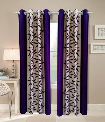 RK Home Furnishing Polycotton Blue Plain Eyelet Door Curtain