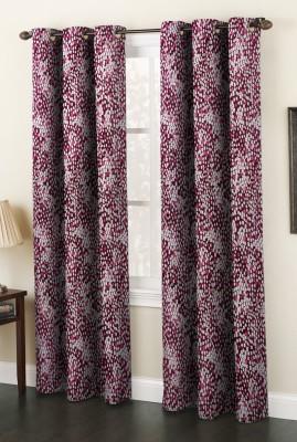 AJ Interior Polyester Wine Printed Eyelet Long Door Curtain