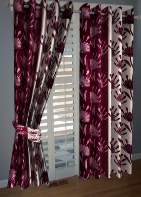 KANHA Polyester Multicolor Floral Eyelet Door Curtain