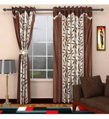 Handloom Hut Polyester Brown Self Design Eyelet Long Door Curtain