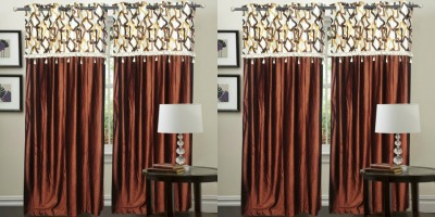 Hargunz Polyester Yellow, Brown Abstract Eyelet Door Curtain