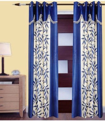 Handloom Hut Polyester Blue Self Design Eyelet Long Door Curtain