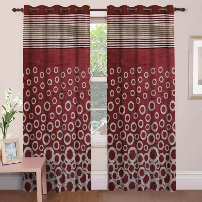 Mdf Curtains Polycotton Maroon Geometric Eyelet Door Curtain
