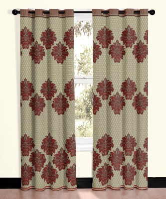 Vivace Homes Polyester Red Motif Eyelet Door Curtain