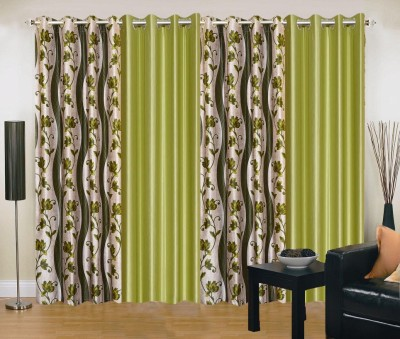 New Trends Polyester Green, Light Green Printed Eyelet Door Curtain