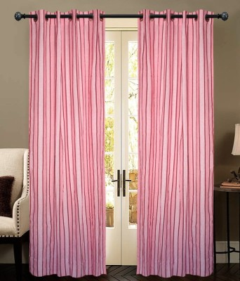 New Ladies Zone Cotton Pink Striped Eyelet Door Curtain