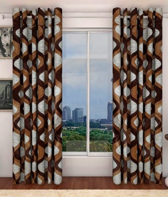curtain Polyester Brown Printed Eyelet Window Curtain