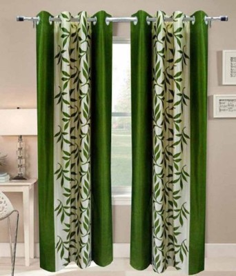 RS Quality Polyester Green Floral Eyelet Window & Door Curtain