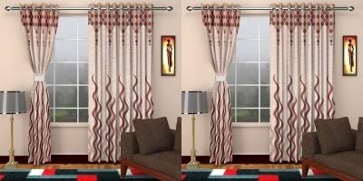 JH Jacquard Maroon Self Design Eyelet Door Curtain