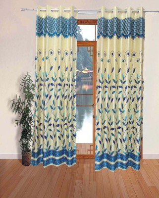 Fabbig Polyester Blue Printed Eyelet Door Curtain