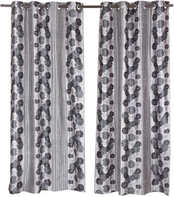 Home Aid Polyester Grey Abstract Eyelet Door Curtain