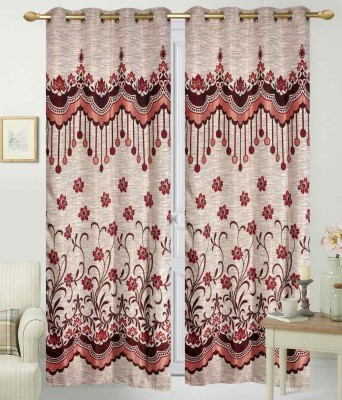 STC Jacquard Red Self Design Eyelet Long Door Curtain