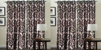 Hargunz Polyester Maroon Abstract Eyelet Door Curtain