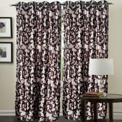 Hargunz Polyester Brown Printed Eyelet Long Door Curtain