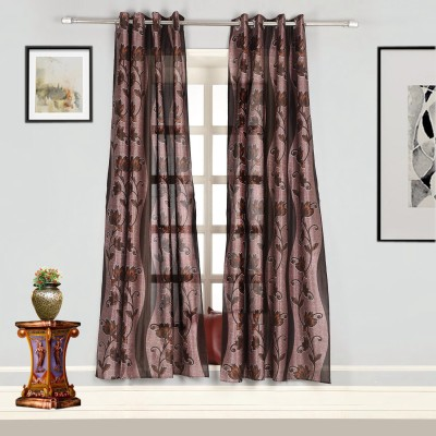 Splendid Polyester Multicolor Floral Eyelet Door Curtain