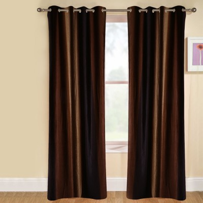 kaka furnishings Polyester Brown Plain Eyelet Long Door Curtain