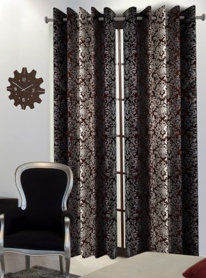Home Blossoms Polyester Brown Floral Eyelet Long Door Curtain