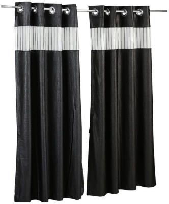 Store17 Polyester Black Self Design Ring Rod Door Curtain